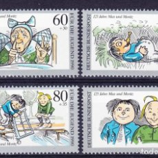 Sellos: ALEMANIA FEDERAL,1990 YVERT Nº 1287 / 1290 /**/, ANIVERSARIO. DE MAX Y MORITZ. Lote 207042415