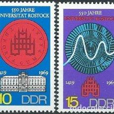 Sellos: 1969. ALEMANIA ORIENTAL/EAST GERMANY. YVERT 1212/3**MNH 550 AÑOS DE LA UNIVERSIDAD DE ROSTOCK.. Lote 207140111