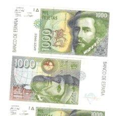 Sellos: 3 BILLETES CORRELATIVOS DE 1000 PESETAS PIZARRO. SERIE 6P. NO CIRCULADOS. Lote 207558061