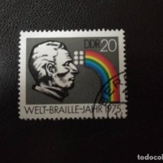 Sellos: ALEMANIA DDR 1975. LOUIS BRAILLE (1809-1852). Lote 210619898