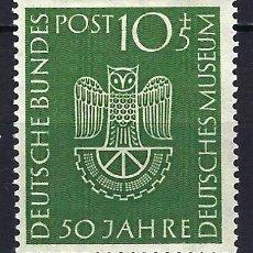 Timbres: 1953 ALEMANIA FEDERAL RFA MICHEL 163 YVERT 51 50 ANIV MUSEO ALEMÁN BUHO MLH** NUEVO SEÑAL FIJASELLOS. Lote 205175776