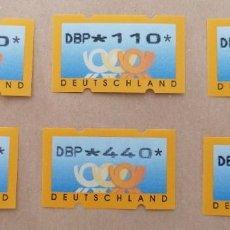 Sellos: ALEMANIA GERMANY 6 ETIQUETAS ATM KLUSSENDORF NUEVAS. Lote 213389786