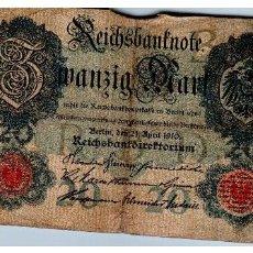 Sellos: BILLETE DE ALEMANIA DE 20 MARCOS DE 1910 CIRCULADO. Lote 214092573