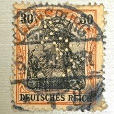 Sellos: SELLO ALEMANIA IMPERIO ALEMAN 1889 DEUTSCHES REICH 30 NEGRO Y ROJO TROQUELADO. PRECIOSO. Lote 215115186