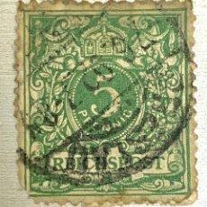 Sellos: SELLO ALEMANIA IMPERIO ALEMAN 1889 DEUTSCHES REICH 5 PENNING VERDE. Lote 215115451