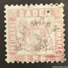 Sellos: ALEMANIA (BADEN) N°17,AÑO 1862 USADO (FOTOGRAFÍA REAL). Lote 217702577