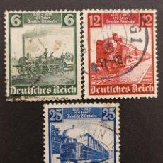 Sellos: ALEMANIA IMPERIO, 539/41 USADOS, FERROCARRILES 1935(FOTOGRAFÍA REAL). Lote 217704515