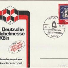 Sellos: POSTAL ENTERO PLASTIFICADA FERIA INTERNACIONAL MUEBLE DE COLONIA 1977. Lote 219102528