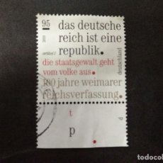Timbres: ALEMANIA FEDERAL 2019. CENTENARY OF THE WEIMAR CONSTITUTION. YT:DE 3263. Lote 219234606