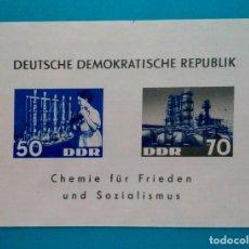 Sellos: HOJITA SELLOS POSTALES ALEMANIA DEMOCRÁTICA 1963 QUÍMICA PARA LA PAZ Y SOCIALISMO. Lote 220532887