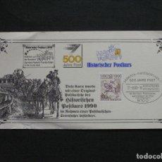 Sellos: TARJETA POSTAL CONMEMORATIVA 500 ANIVERSARIO DE LA LINEA POSTAL GARMISCH-PARTENK - FRANKFURT-MAIN. Lote 222151256