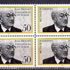 Sellos: ALEMANIA FEDERAL /1977/MNH/SC#1244/ JEAN MONNET / PERSONAJE HISTORICO FRANCES / BLOQUE. Lote 222234153