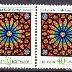 Sellos: ALEMANIA FEDERAL /1978/MNH/SC#1278/ 85º CONGRESO DE CATOLICOS ALEMANES/ VITRAL DE ROSA / ARTE / PAR. Lote 222235903