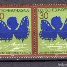 Sellos: ALEMANIA FEDERAL /1978/MNH/SC#1279/ CLEMENS BRENTANO COMO MARIPOSA / POETA / PAR. Lote 222236017