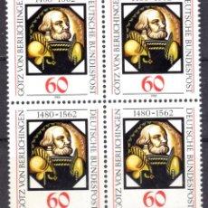 Sellos: ALEMANIA FEDERAL /1980/MNH/SC#1324/ GOTZ VON BERLICHINGEN PINTURA SOBRE VIDRIO / ARTE / BLOQUE. Lote 222236255