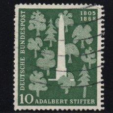 Sellos: ALEMANIA 96 - AÑO 1955 - 150º ANIVERSARIO DEL NACIMIENTO DEL ESCRITOR ADALBERT STIFTER. Lote 222568506