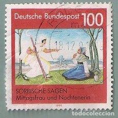 Sellos: BRIEFMARKE MITTAGSFRAU UND NOCHTENERIN (SORBISCHE SAGEN) - DEUTSCHE BUNDESPOST, ALEMANIA, 1991. Lote 222612605