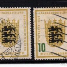 Sellos: ALEMANIA 89/90 - AÑO 1955 - EXPOSICIÓN DE STUTTGART. Lote 259038990