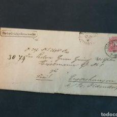Sellos: ALEMANIA CARTA DE 1882 A OLDENDORF. ESTA PEGADA NUNCA SE HA ABIERTO. Lote 226817630