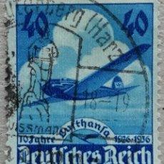 Timbres: 1936. ALEMANIA. III REICH. 10 ANIV. DE LA COMPAÑÍA AÉREA LUFTHANSA. AVIÓN. SERIE COMPLETA. USADO.. Lote 233550185