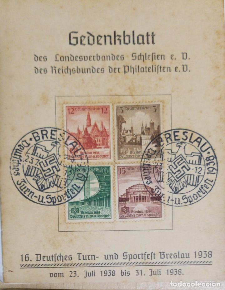 O) 1938 ALEMANIA, ESTADIO HERMANN GOERING, AYUNTAMIENTO - BRESLAU, ISLA DE LA CATEDRAL, HEBRESLAU, C (Sellos - Extranjero - Europa - Alemania)