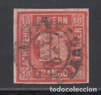 ESTADOS ALEMANES, BAVIERA. 1861-62 YVERT Nº 14, 18 K. ROJO. (Sellos - Extranjero - Europa - Alemania)