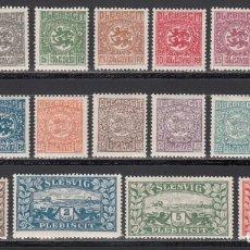 Sellos: ESTADOS ALEMANES, SCHLESWIG. 1920 YVERT Nº 25 / 38 /*/. Lote 235580425