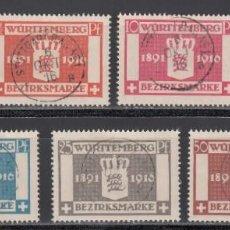 Sellos: ESTADOS ALEMANES, WURTEMBERG. SERVICIO 1920 YVERT Nº 71 / 77. Lote 235581660