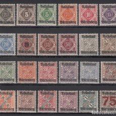 Sellos: ESTADOS ALEMANES, WURTEMBERG. SERVICIO 1919 YVERT Nº 90 / 113 /*/. Lote 235584735