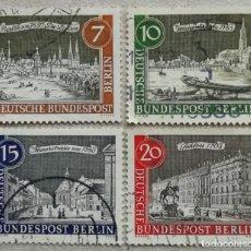Timbres: 1962. BERLÍN-ALEMANIA. 196, 197, 198, 199. VIEJO BERLÍN. CALLES, CASTILLOS, PLAZA, PUENTES. USADO.. Lote 235610530