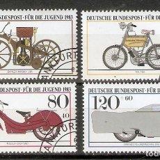 Francobolli: ALEMANIA FEDEAL.1983. MI 1168/71. HISTORIA DEL AUTOMÓVIL. Lote 236913990