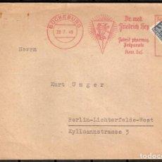 Sellos: BÜCKEBURG 1949. DR MED FRIEDRICH HEY - FABRIK PHARMAZ. MARCA DE FRANQUEO DEL REMITENTE. Lote 237323795