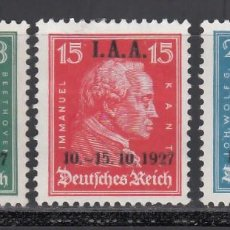 Selos: ALEMANIA IMPERIO, 1927 YVERT Nº 398 / 400 /*/. Lote 238674350