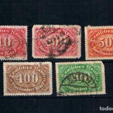 Sellos: ALEMANIA 1923 VALORES NUMERALES -CINCO SELLOS ANTIGUOS ALEMANES REICHSPOST. Lote 241754655