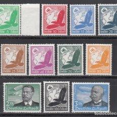 Sellos: ALEMANIA IMPERIO, AÉREOS. 1934 YVERT Nº 43 / 53 /**/, SIN FIJASELLOS. Lote 243656460