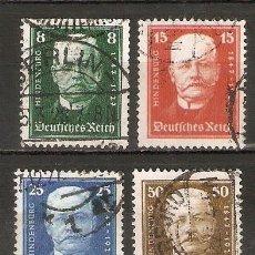 Sellos: ALEMANIA IMPERIO.1927. YT 394/397. LXXX ANIVERSARIO DE HINDENBURG.. Lote 244496200