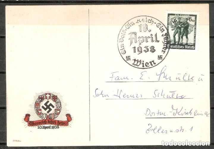 ALEMANIA IMPERIO. TARJETA CONMEMORATIVA 10 APRIL 1938. FUSIÓN AUSTRIA Y ALEMANIA (Sellos - Extranjero - Europa - Alemania)