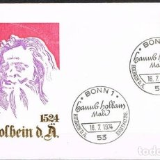 Sellos: [C0102] ALEMANIA 1974; FDC 450 ANIVERSARIO MUERTE DE HANS HOLBEIN (NS). Lote 244636120