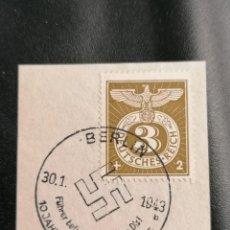 Sellos: ALEMANIA YVERT 762 MICHEL 830, EN FRAGMENTO, 1943, TERCER REICH. Lote 246206125