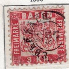 Sellos: ALEMANIA, ESTADOS ALEMANES, BADEN , 1868 , MICHEL , 24. Lote 255326285