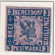 Sellos: ALEMANIA, ESTADOS ALEMANES, BERGEDORF, 1861 , MICHEL , 4. Lote 255326920