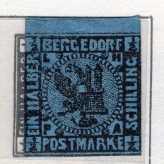 Sellos: ALEMANIA, ESTADOS ALEMANES, BERGEDORF, 1861 , MICHEL , 1A. Lote 255326990