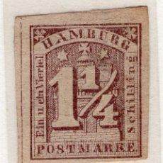 Sellos: ALEMANIA, ESTADOS ALEMANES, HAMBURGO , 1864 , MICHEL , 8F. Lote 255328315