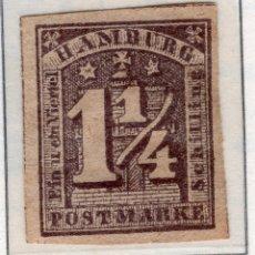 Sellos: ALEMANIA, ESTADOS ALEMANES, HAMBURGO , 1864 , MICHEL , 8F. Lote 255328340