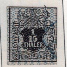Sellos: ALEMANIA, ESTADOS ALEMANES, HANNOVER, 1856 , MICHEL ,11. Lote 255329430