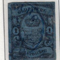 Sellos: ALEMANIA, ESTADOS ALEMANES, OLDEMBURG, 1859 , MICHEL ,6A. Lote 255365565