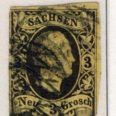 Sellos: ALEMANIA, ESTADOS ALEMANES, SAJONIA, 1851 , MICHEL ,6. Lote 255366885
