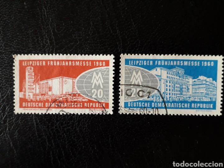 ALEMANIA ORIENTAL DDR. YVERT 466/7 SERIE COMPLETA USADA 1960. FERIA DE LEIPZIG PEDIDO MÍNIMO 3€ (Sellos - Extranjero - Europa - Alemania)