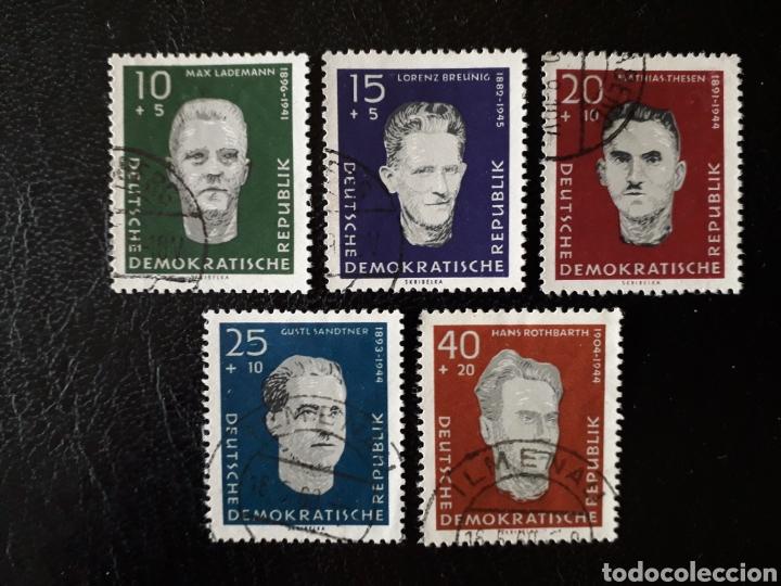 ALEMANIA ORIENTAL DDR. YVERT 479/83 SERIE COMPLETA USADA 1960 ANTIFASCISTAS. PEDIDO MÍNIMO 3€ (Sellos - Extranjero - Europa - Alemania)