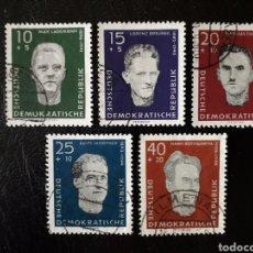 Sellos: ALEMANIA ORIENTAL DDR. YVERT 479/83 SERIE COMPLETA USADA 1960 ANTIFASCISTAS. PEDIDO MÍNIMO 3€. Lote 257471675